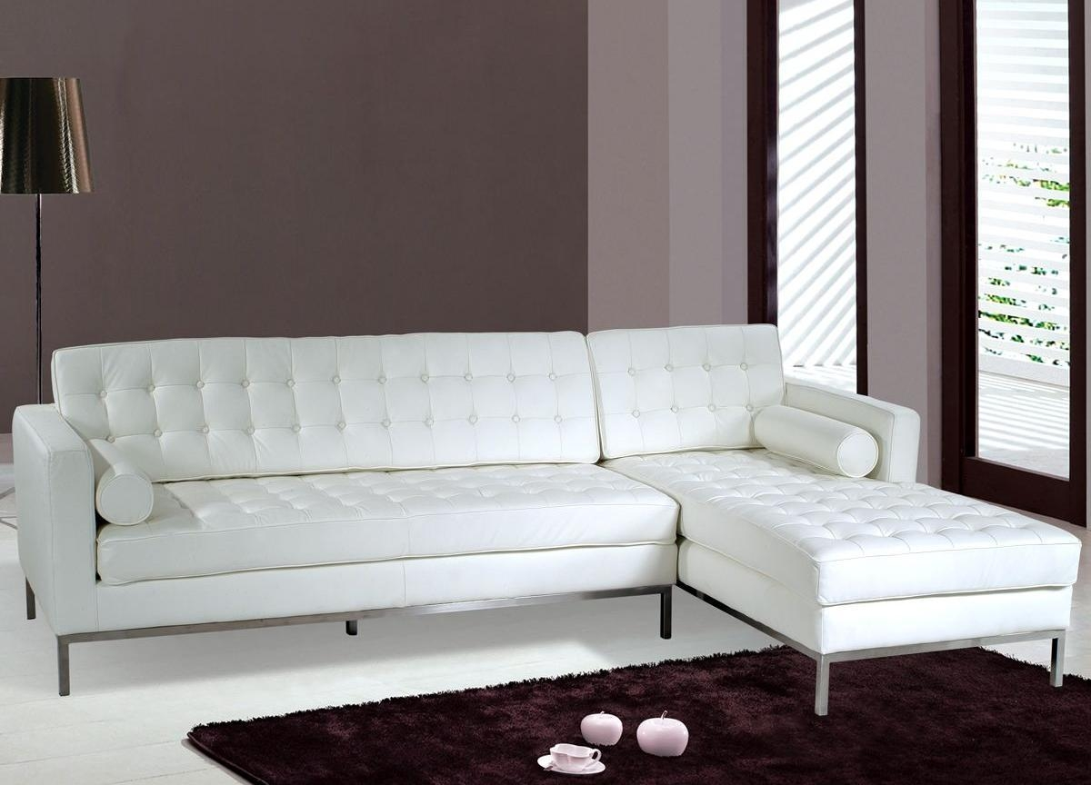 Pebble Microfiber & Faux Leather Small Sectional Sofa – S3Net In White Modern Sofas (Image 9 of 20)
