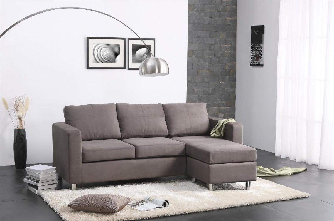 Pebble Microfiber & Faux Leather Small Sectional Sofa – S3Net Pertaining To Small Microfiber Sectional (Image 11 of 20)
