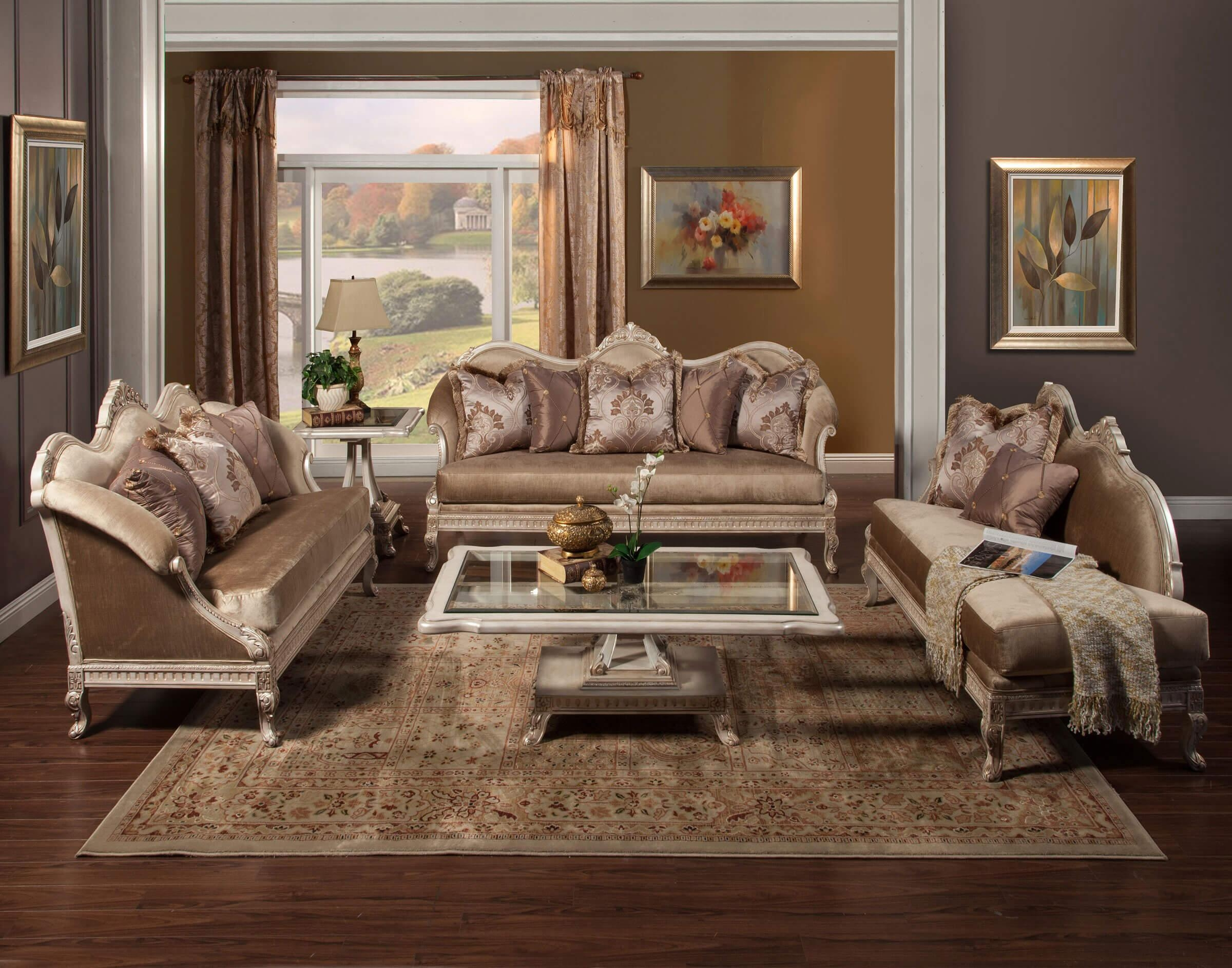 Perla Wood Trim Sofa & Chaise Lounge Set • Usa Furniture Online Pertaining To Sofas And Chaises Lounge Sets (Image 14 of 20)
