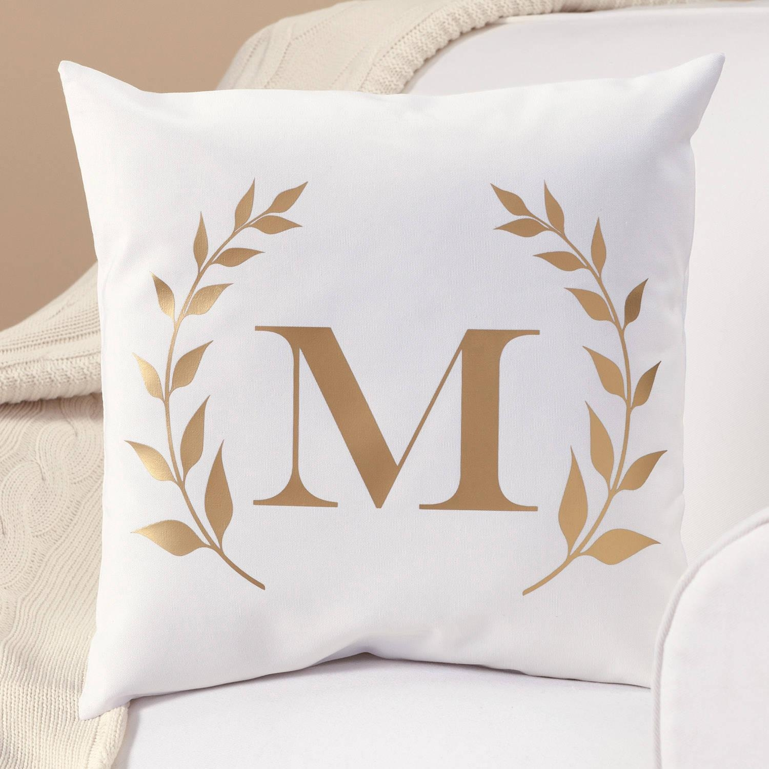 Personalized Gold Initial Throw Pillow – Walmart Throughout Gold Sofa Pillows (Image 15 of 20)