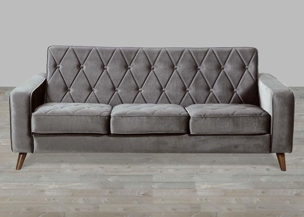 Petite Grey Velvet Sofa Button Tufted Throughout Silver Tufted Sofas (Image 11 of 20)