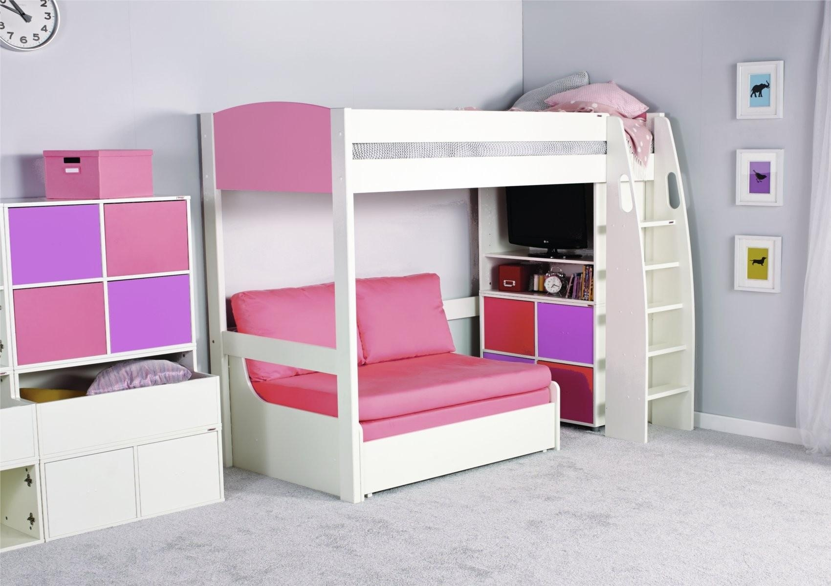 Pink Sofa Bed Throughout High Sleeper Bed With Sofa (View 11 of 20)