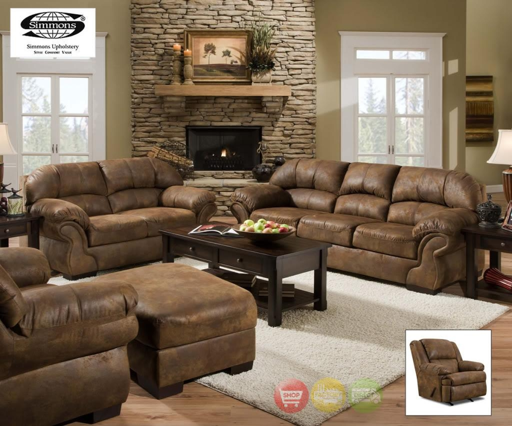 Pinto Sofa, Loveseat & Rocker Recliner Casual Tobacco Brown 3 Regarding Simmons Sofas And Loveseats (View 2 of 20)