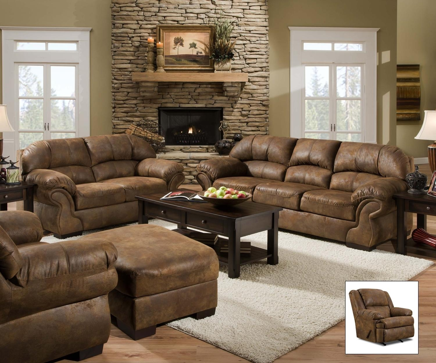Pinto Tobacco Faux Leather Sofasimmons Within Simmons Leather Sofas And Loveseats (Image 5 of 20)