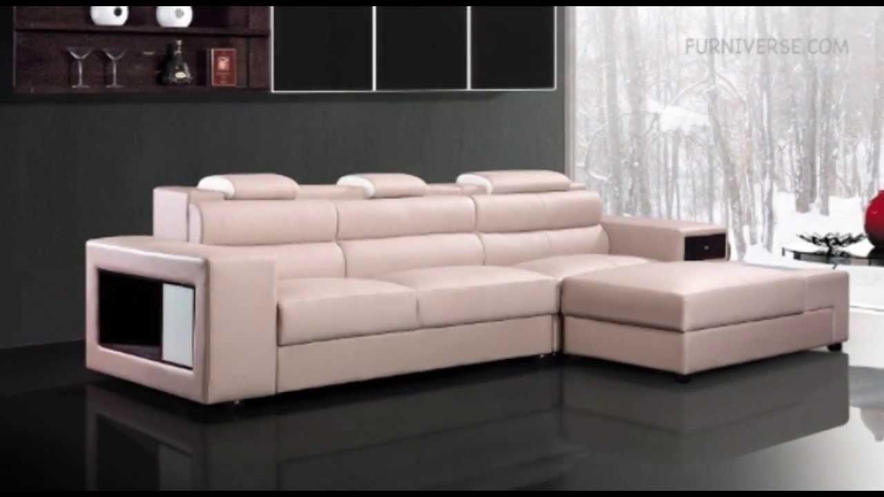 Polaris Mini Contemporary Light Grey Leather Sectional Sofa – Youtube Intended For Mini Sectional Sofas (Image 14 of 20)