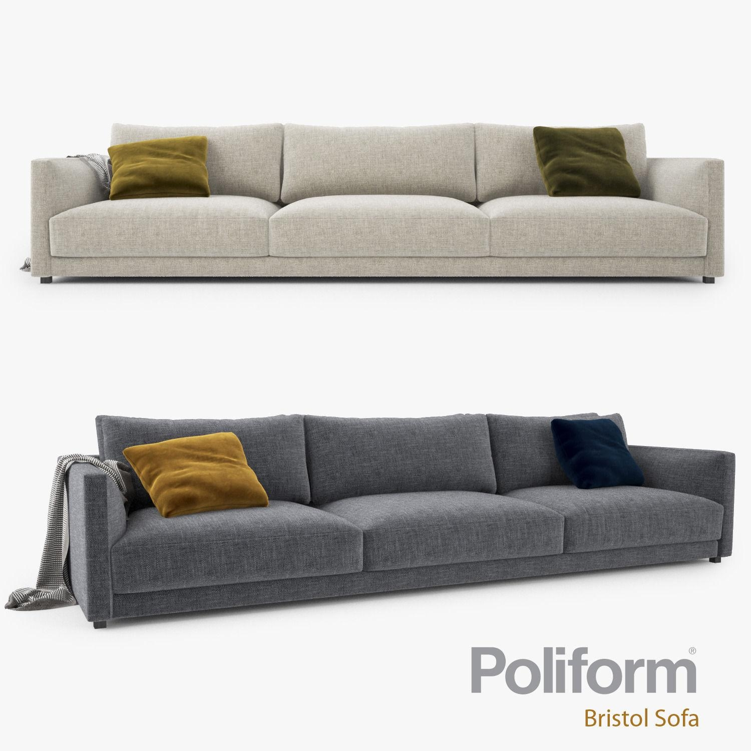 Poliform Bristol Three Seater Sofa 3D Model Max Obj Fbx Mtl For Bristol Sofas (Image 12 of 20)