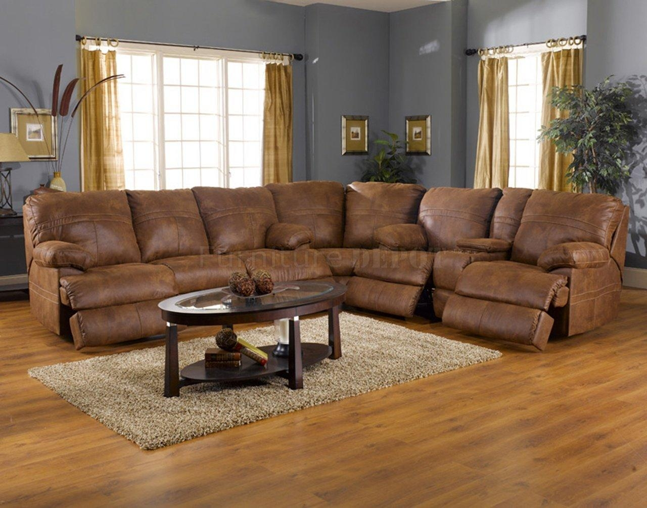 Popular Leather Fabric Sectional Sofa With Rich Tanner Faux With Faux Leather Sectional Sofas (Image 9 of 15)