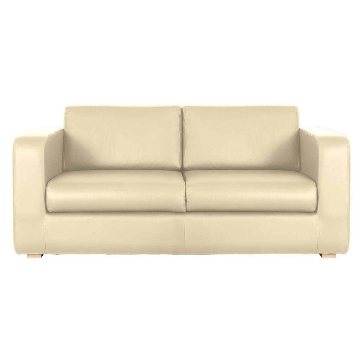 Porto Cream Leather 3 Seater Sofa | Buy Now At Habitat Uk Intended For Three Seater Sofas (Image 17 of 20)