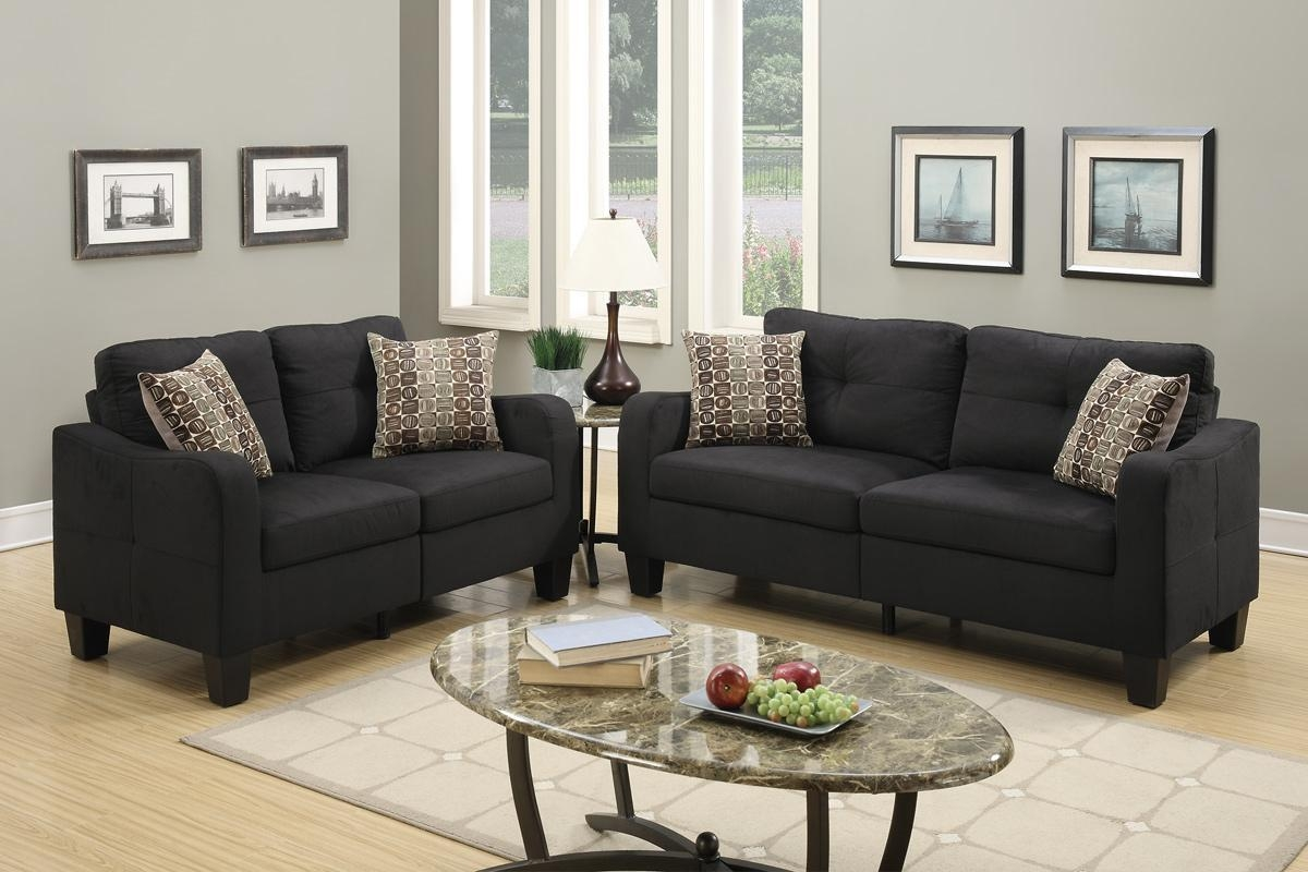 Poundex Charon F6922 Black Fabric Sofa And Loveseat Set – Steal A With Reclining Sofas And Loveseats Sets (Image 13 of 20)