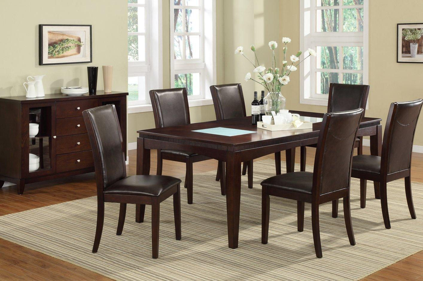 Poundex F2165 Brown Glass Dining Table – Steal A Sofa Furniture Regarding Dining Table With Sofa Chairs (Image 15 of 20)