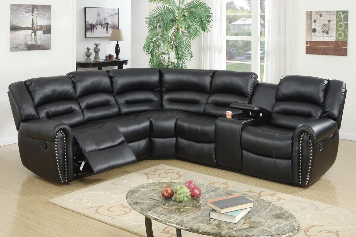 Poundex F6743 Black Bonded Leather Motion Sectional Cup Holder Intended For Sectional With Cup Holders (Image 8 of 20)