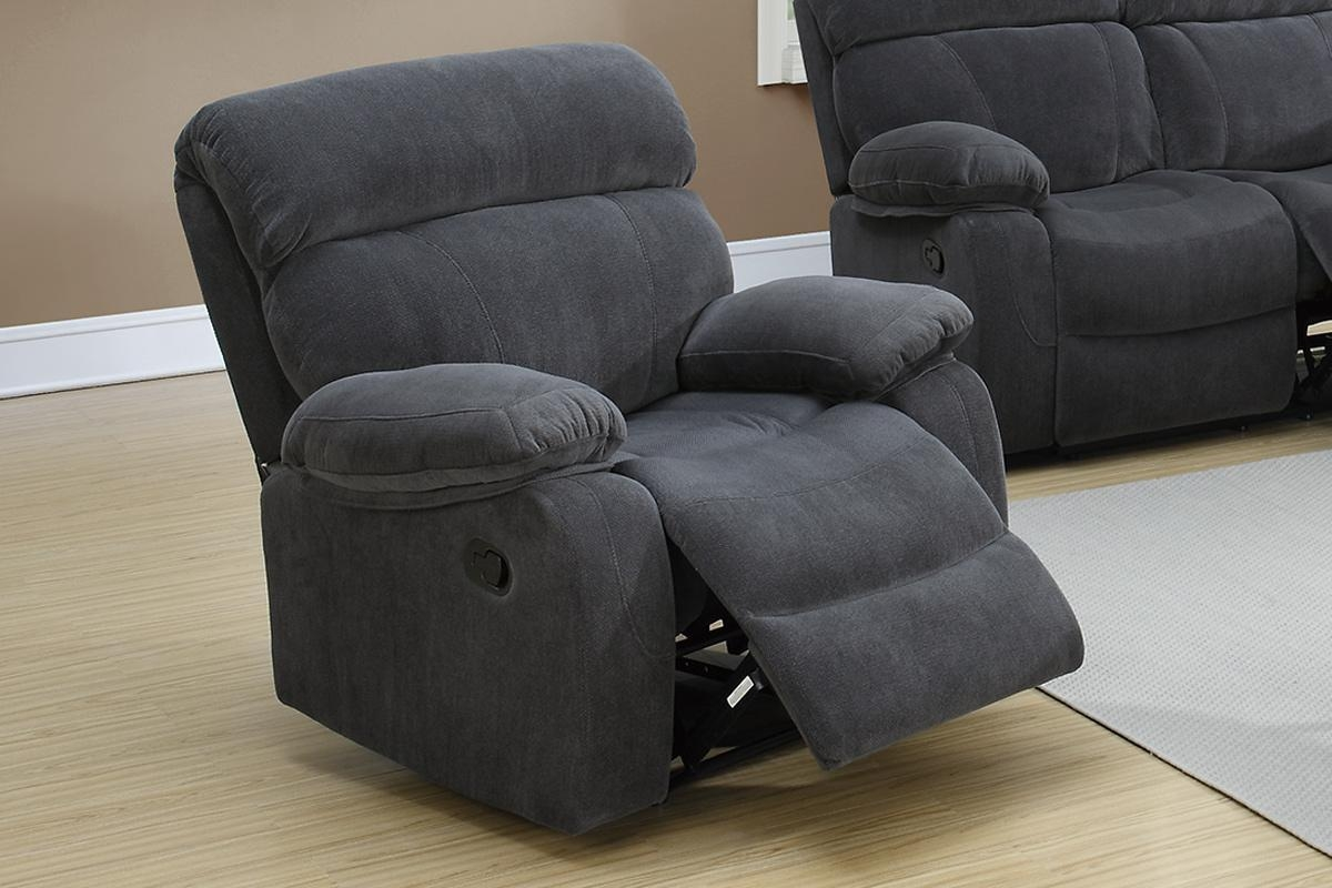 Poundex F6789 Grey Fabric Rocker Recliner Chair – Steal A Sofa Throughout Rocking Sofa Chairs (Image 10 of 20)