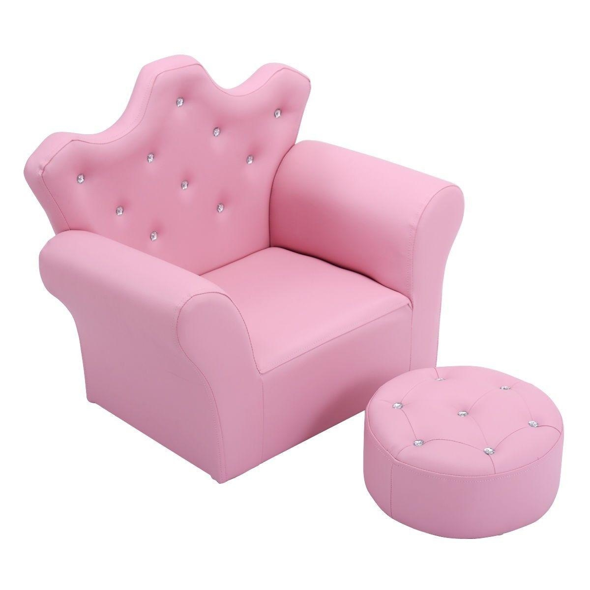 Princess Pink Chair With Ottoman Couch Kids Living Room Toddler For Kids Sofa Chair And Ottoman Set Zebra (Image 15 of 20)