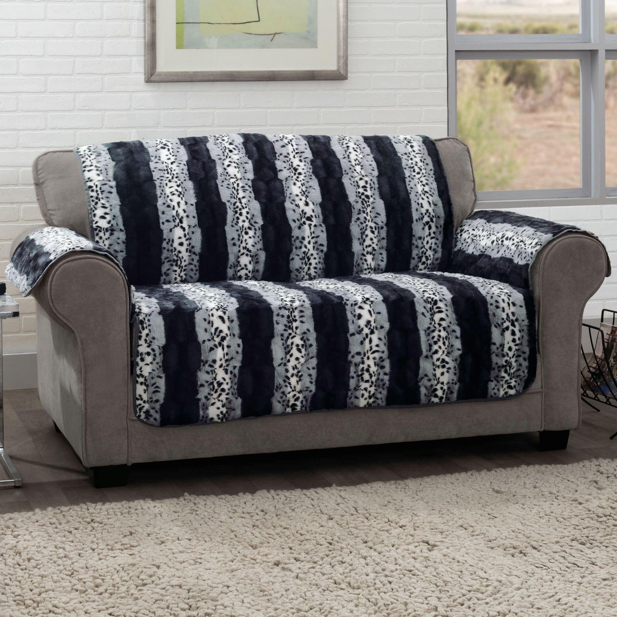 Prowl Black Faux Fur Animal Print Furniture Protectors For Animal Print Sofas (Image 12 of 20)