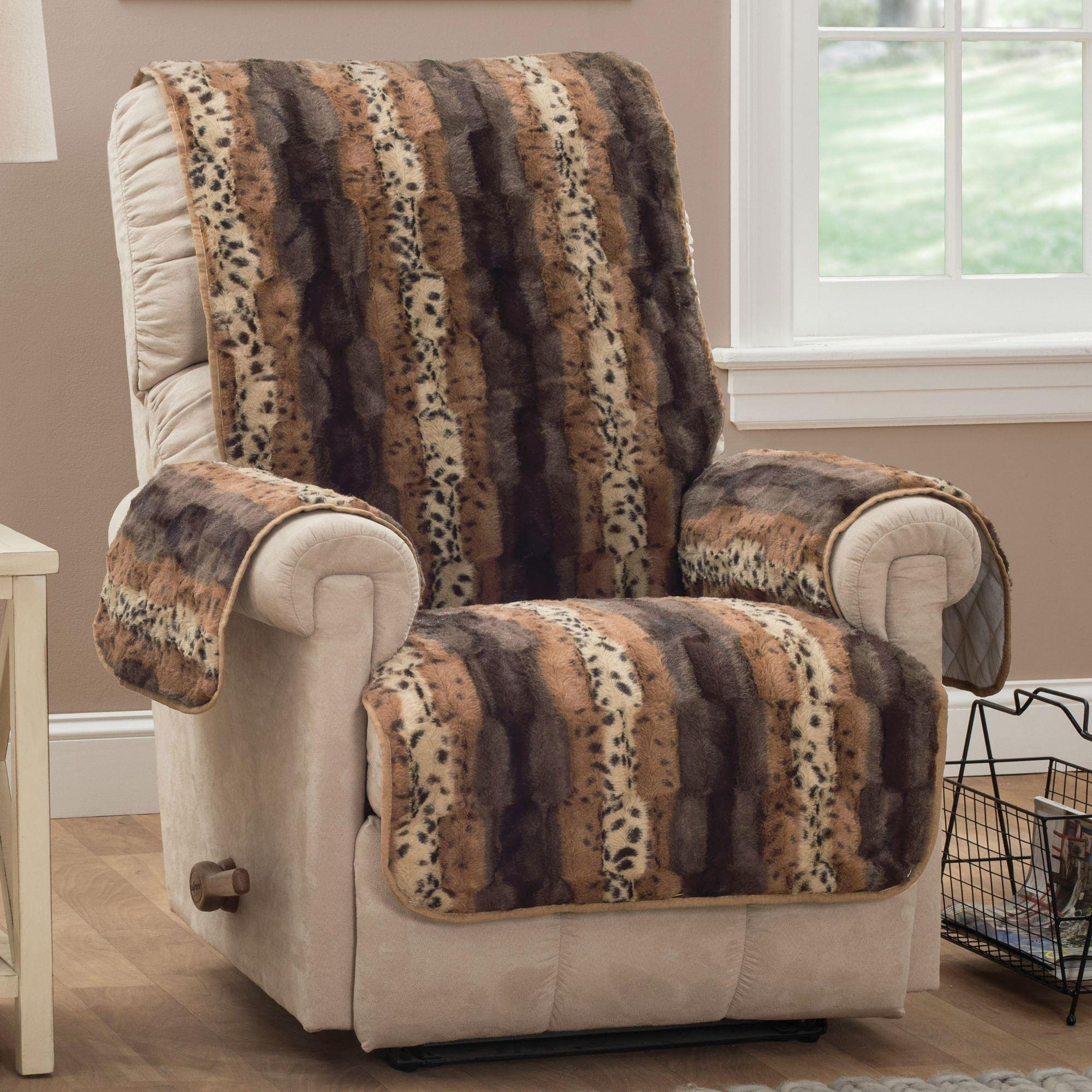 Prowl Brown Faux Fur Animal Print Furniture Protectors With Animal Print Sofas (Image 14 of 20)