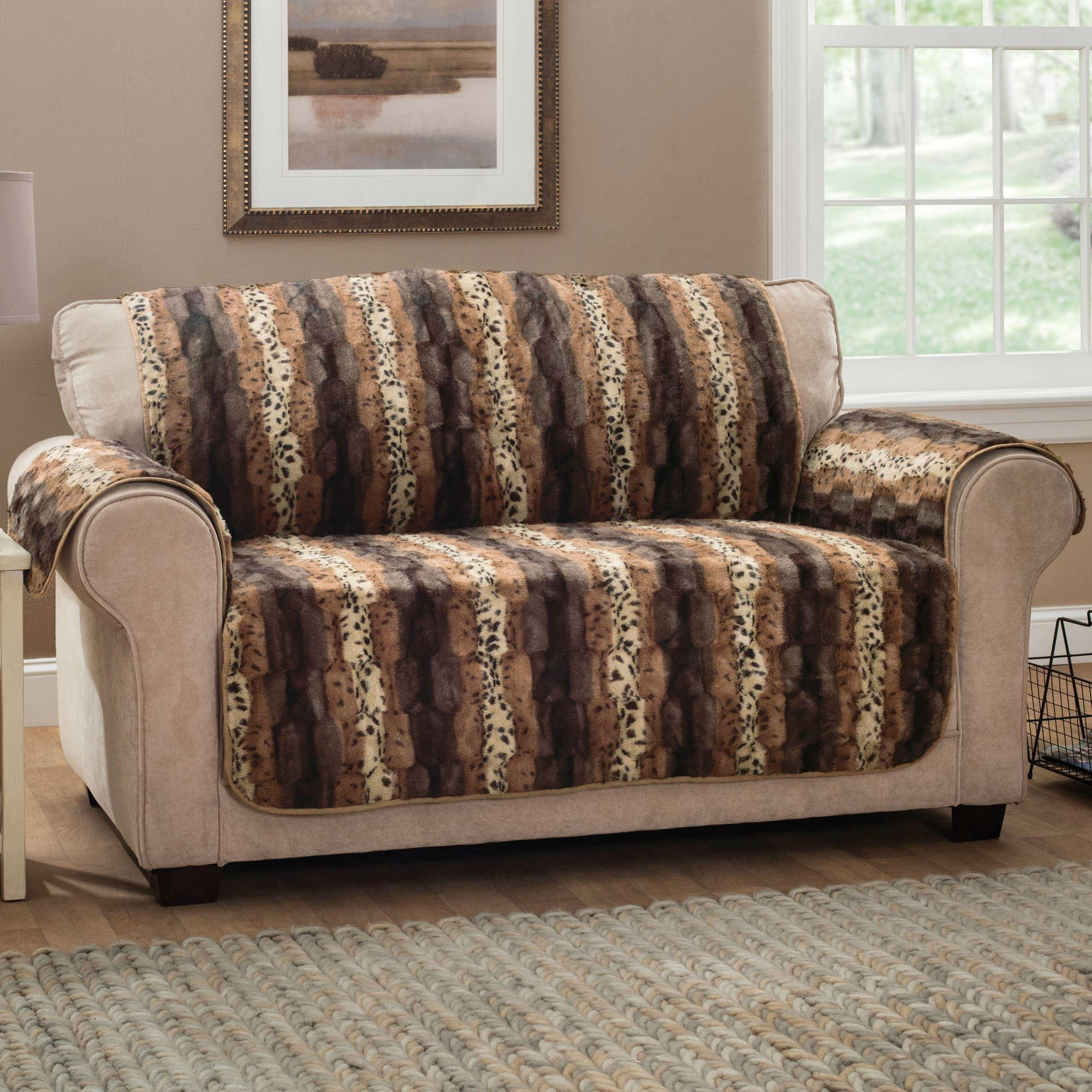 Prowl Brown Faux Fur Animal Print Furniture Protectors With Animal Print Sofas (Image 13 of 20)