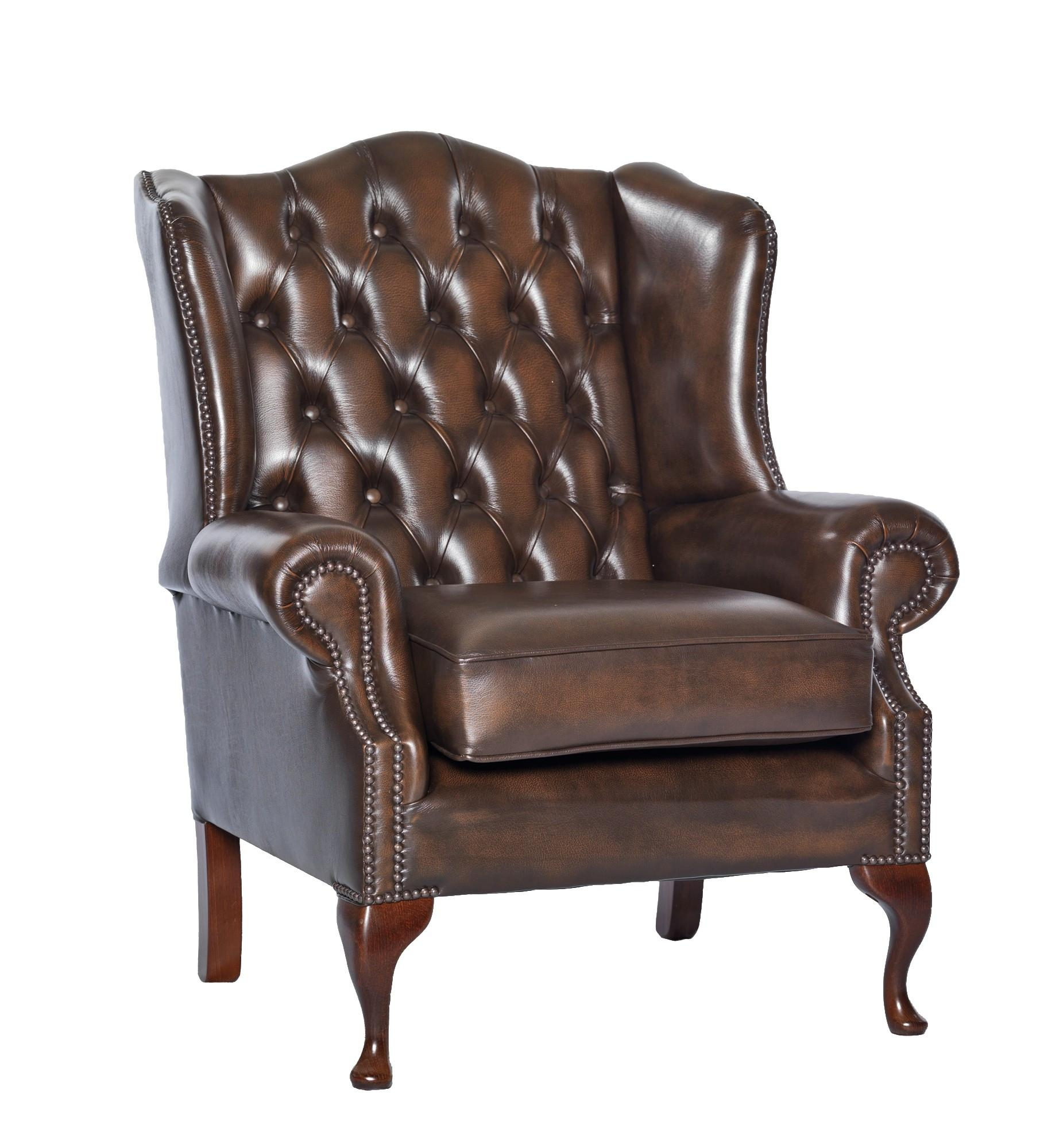 Queen Anne Leather Chesterfield Sofa Or Chair - Leather Sofas And with Chesterfield Sofa and Chairs