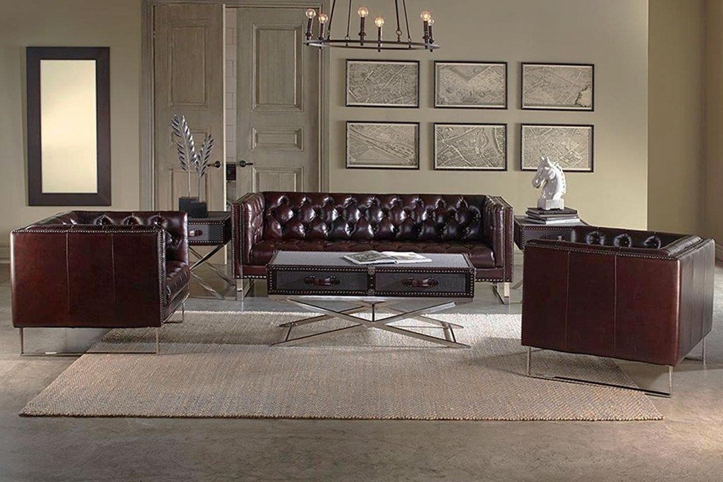 """Quick Ship"""" 3 Piece Tufted Leather Sofa, Loveseat And Chair Set regarding Sofa Loveseat And Chair Set"""