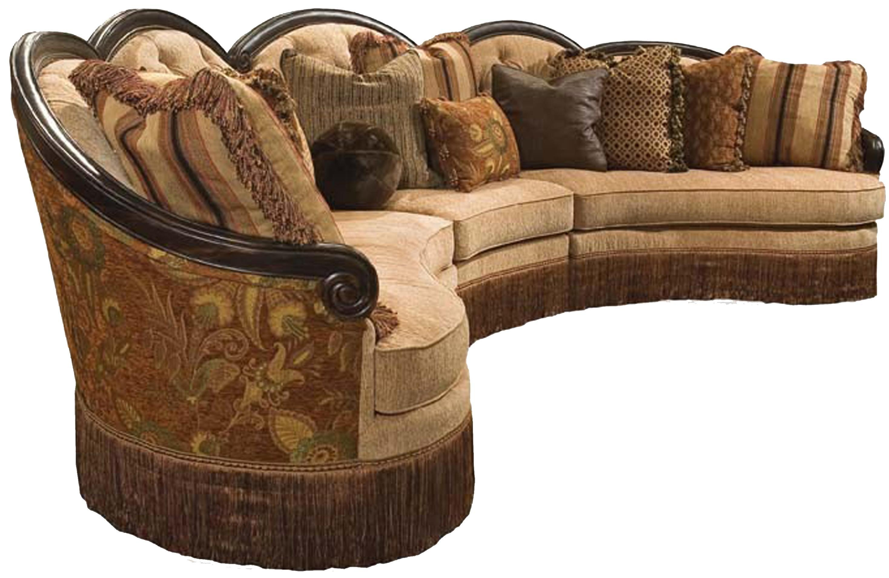 Rachlin Classics Grace Traditional 3Pc Conversational Sectional Regarding Traditional Sectional Sofas (Image 8 of 20)