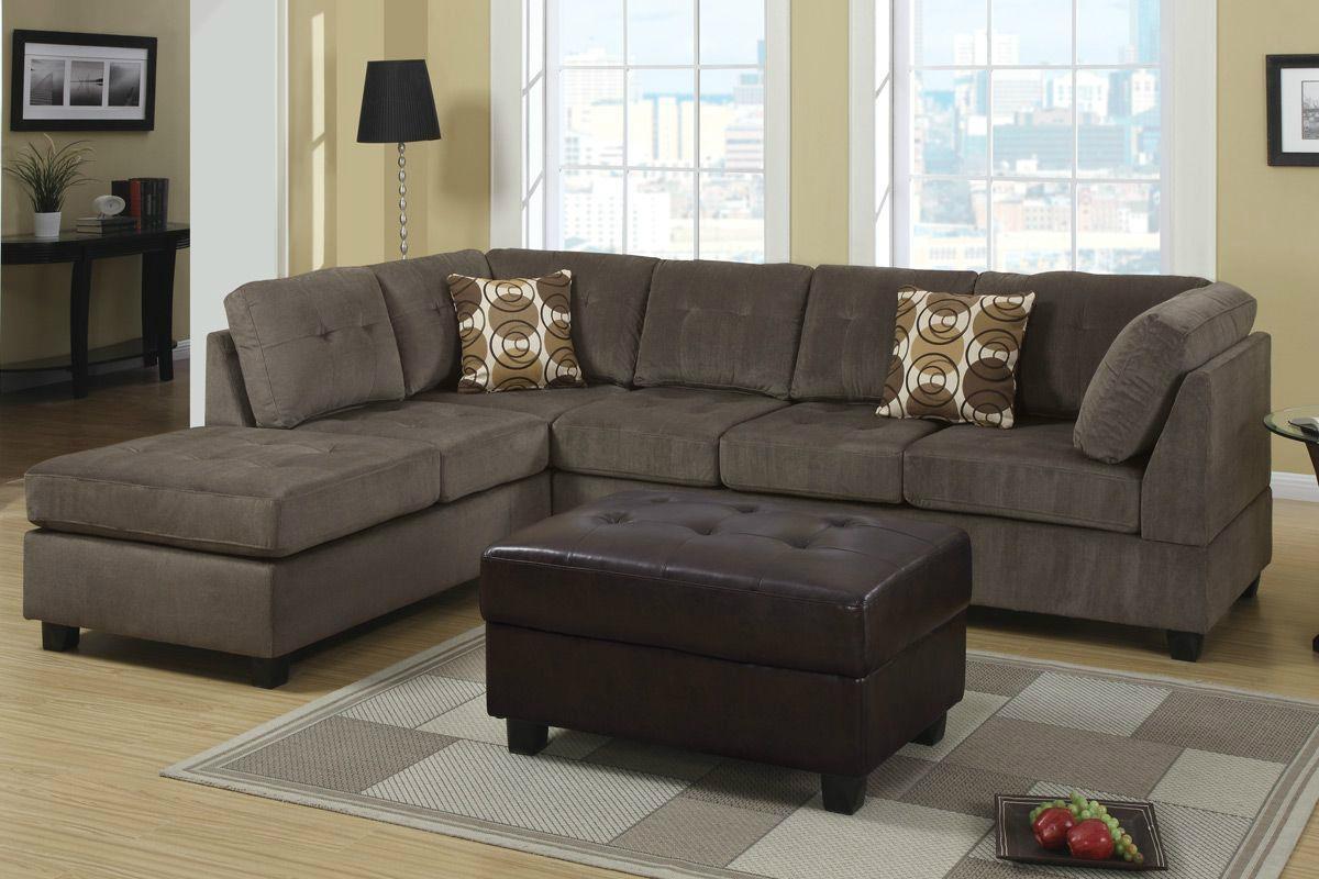 Radford Ash Reversible Microfiber Sectional Sofa – Steal A Sofa For Microfiber Sectional Sofas (Image 18 of 20)