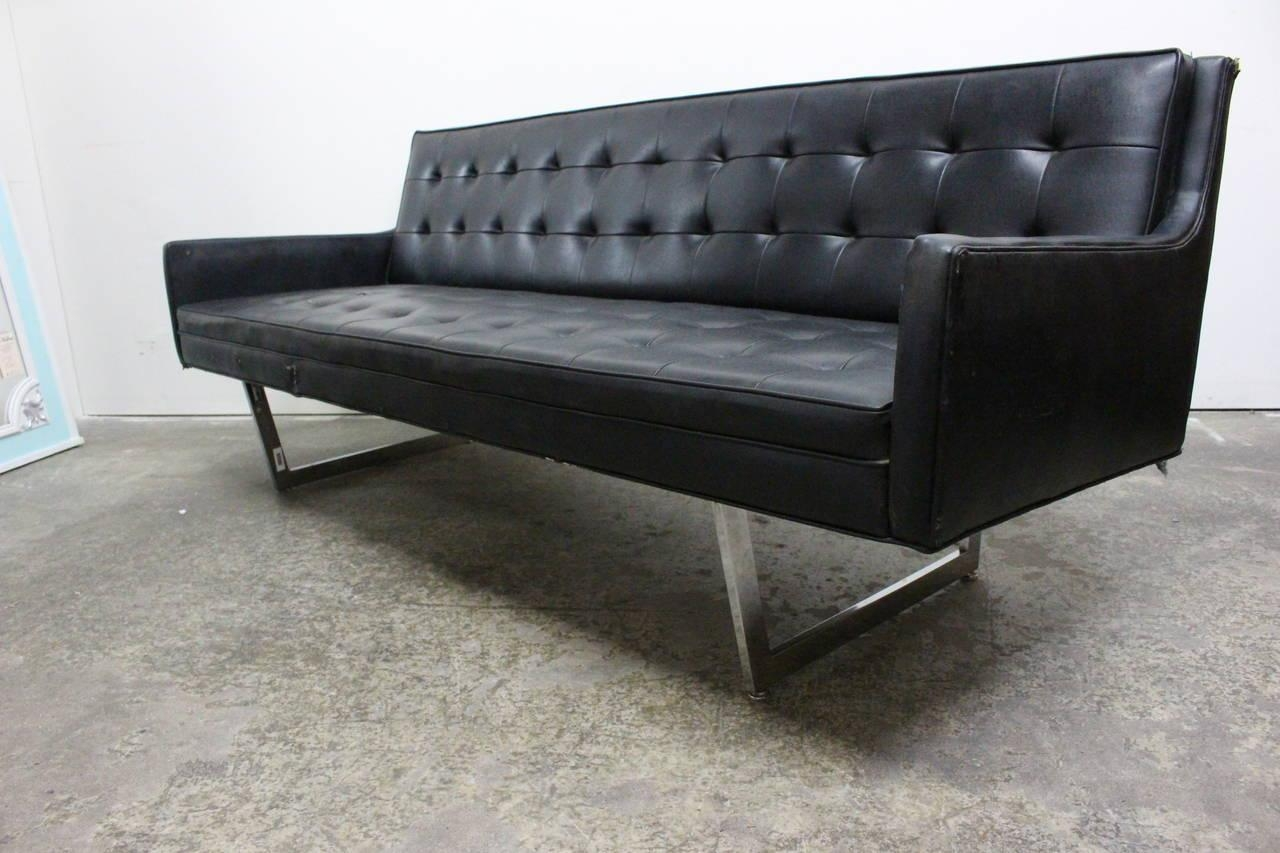 Rare Black Vinyl Sofamilo Baughman For James Inc At 1Stdibs Regarding Black Vinyl Sofas (Image 17 of 20)