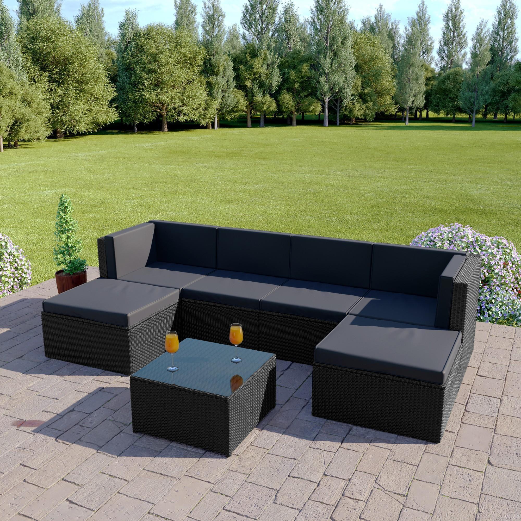 Rattan Corner Sofa Sets | Cheap Outdoor Garden Sets | Rattan Furniture Intended For Black Corner Sofas (View 15 of 20)