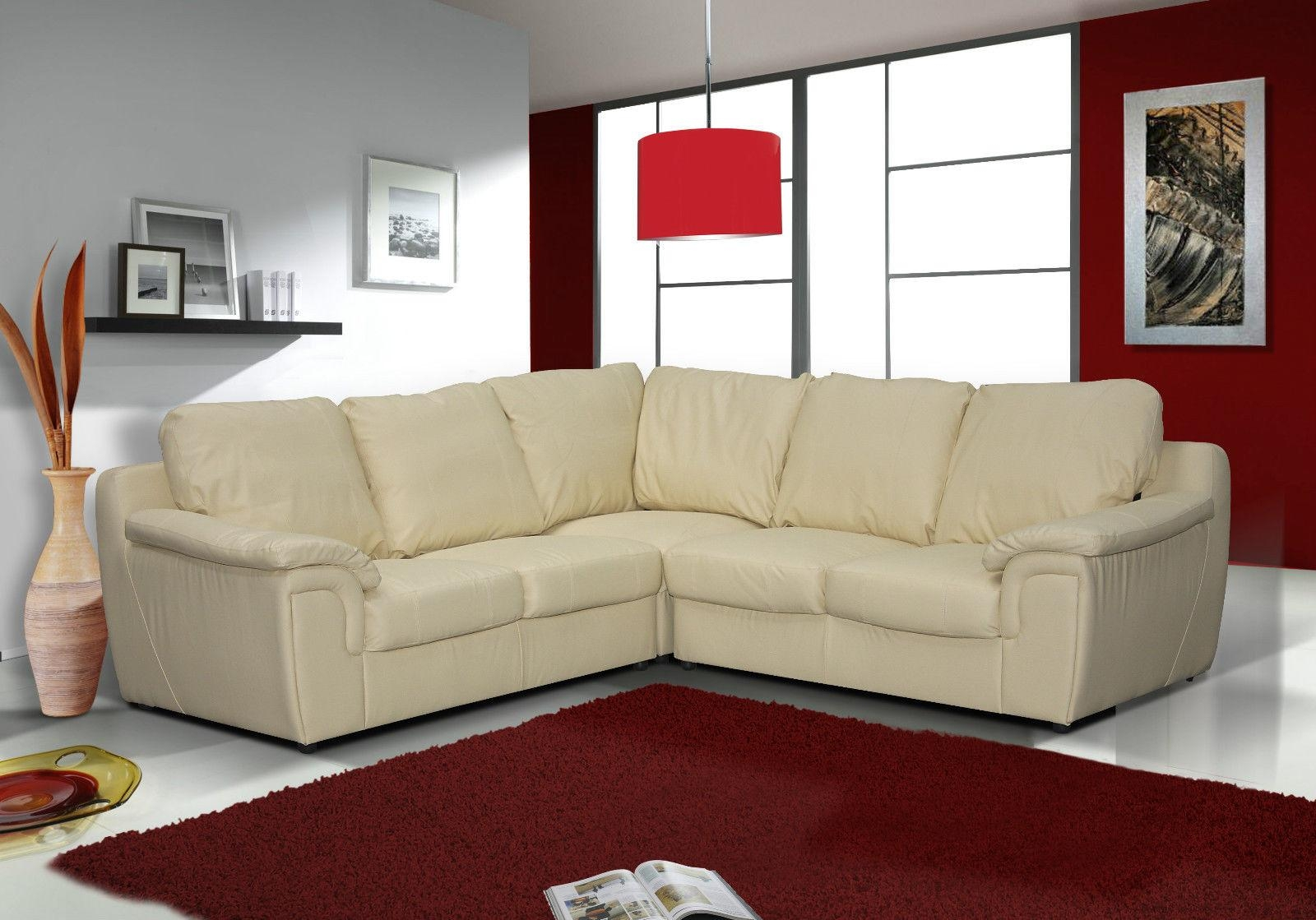 Real Leather Amy Corner Sofa Suite (Black – Brown – Cream) – Uk Sofas Intended For Corner Sofa Leather (View 2 of 20)