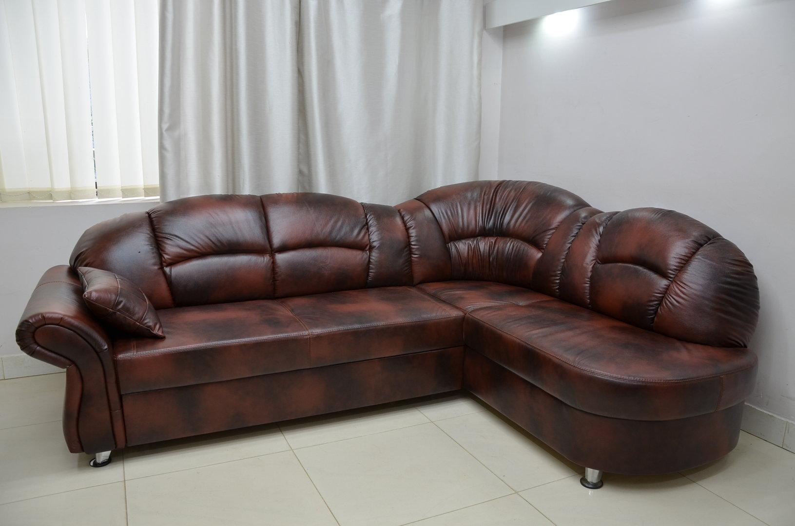 Real Leather Corner Sofa Bed Romero, Real Leather All Over For Corner Sofa Leather (Image 14 of 20)