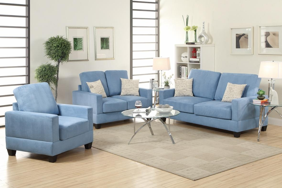 Rebel Blue Wood Sofa Loveseat And Chair Set – Steal A Sofa Regarding Sofa Loveseat And Chair Set (View 15 of 20)