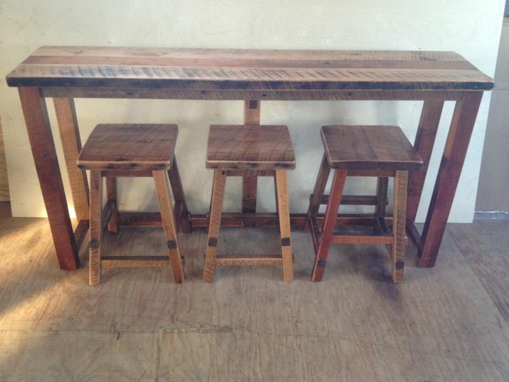 Reclaimed Barn Wood Breakfast Bar With 3 Stools In Counter Height Sofa Tables (View 4 of 20)