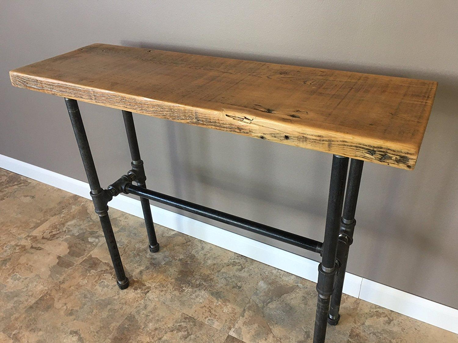 """Reclaimed Barn Wood Console Table With Pipe Legs – 30"""" Height Pertaining To Barnwood Sofa Tables (View 18 of 20)"""