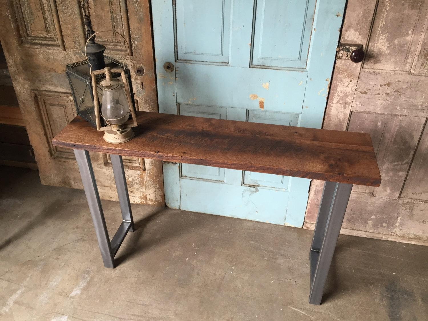 Reclaimed Wood Industrial Console Table / H Shaped Metal Legs Throughout Barnwood Sofa Tables (Image 14 of 20)