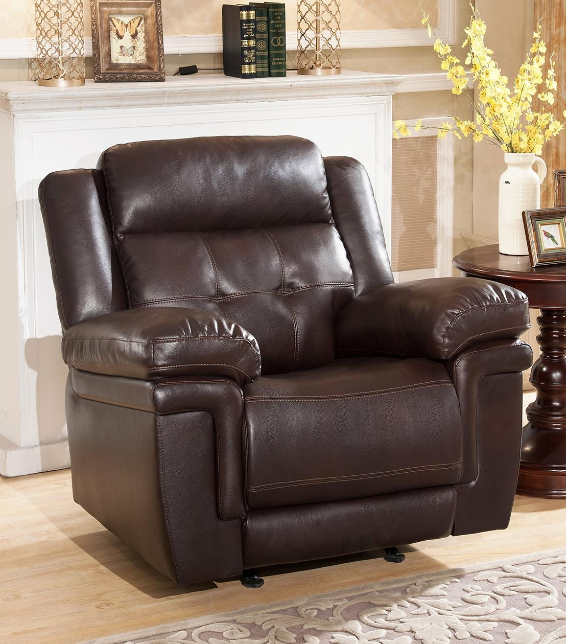 Recliners : Carly Leather Rocker Recliner Within Abbyson Recliners (Image 12 of 20)