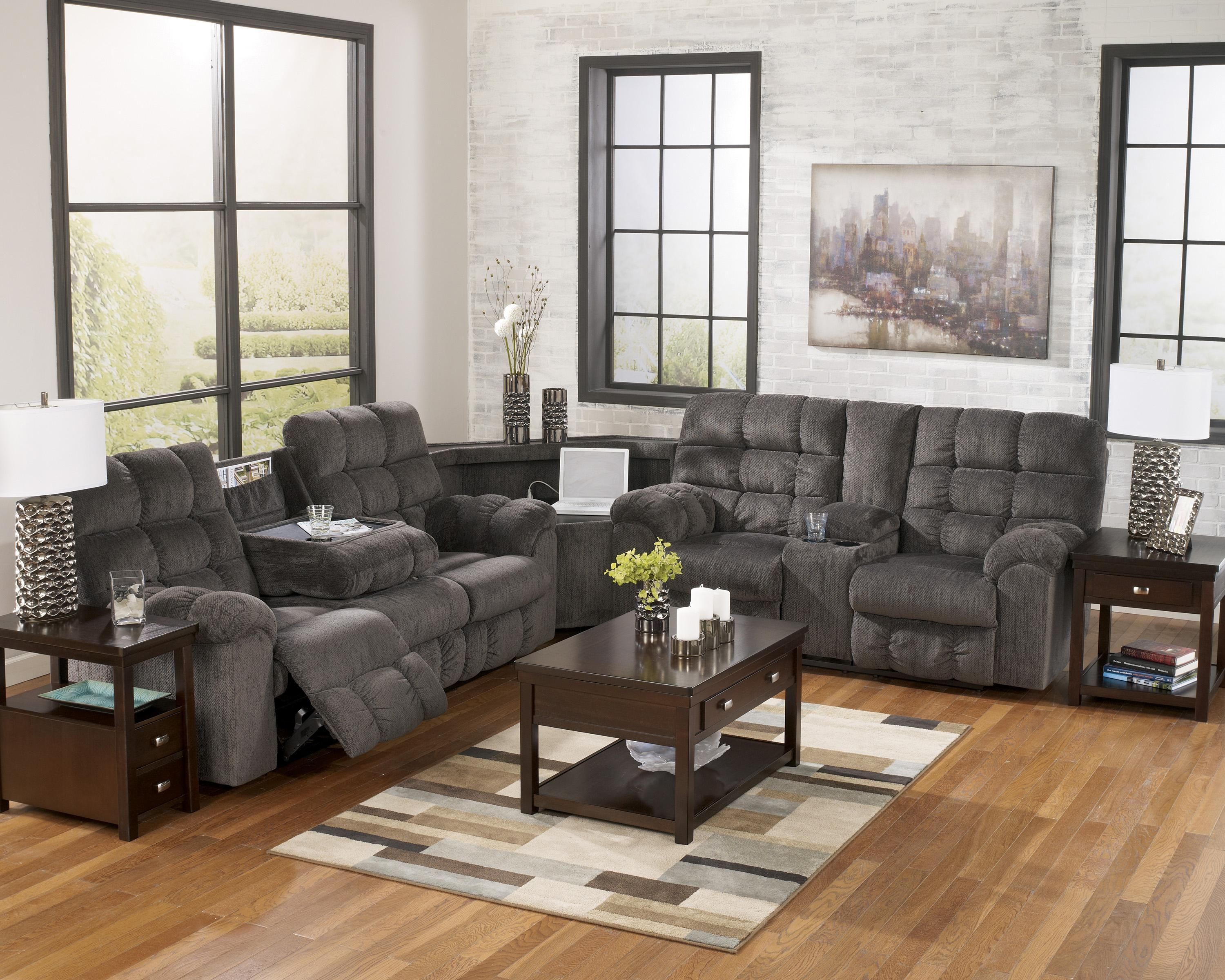 Reclining Sectional Sofa With Right Side Loveseat, Cup Holders And Pertaining To Sectional With Cup Holders (Image 9 of 20)