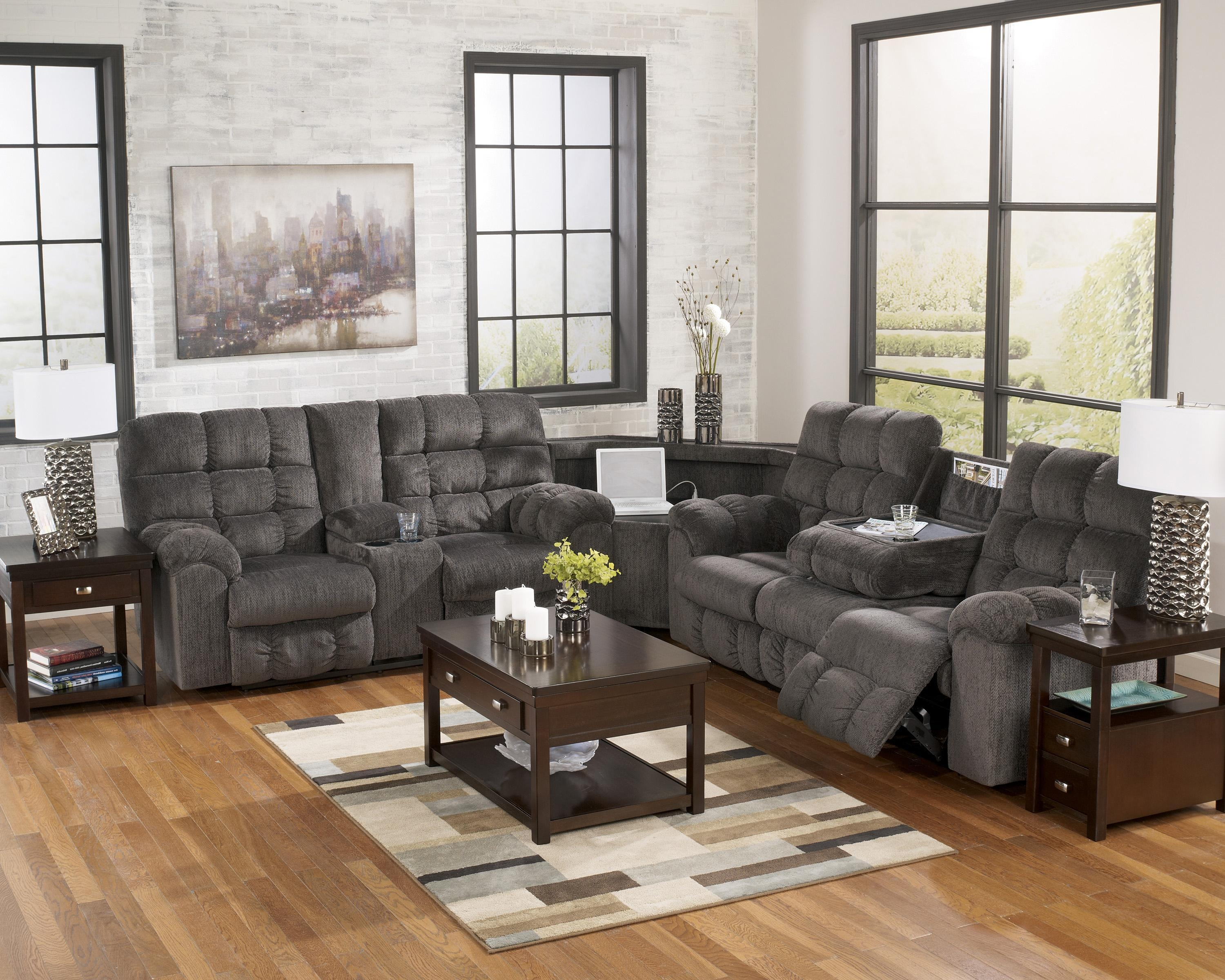 Reclining Sectional With Left Side Loveseat, Cup Holders And Pertaining To Sectional With Cup Holders (Image 10 of 20)