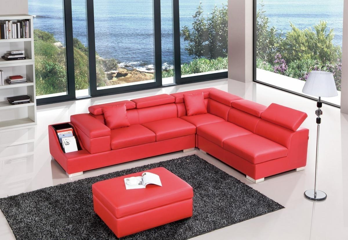 Red Color Sectional Sofa Upholstered In High Quality Leather In Leather Sectional Austin (Image 11 of 20)