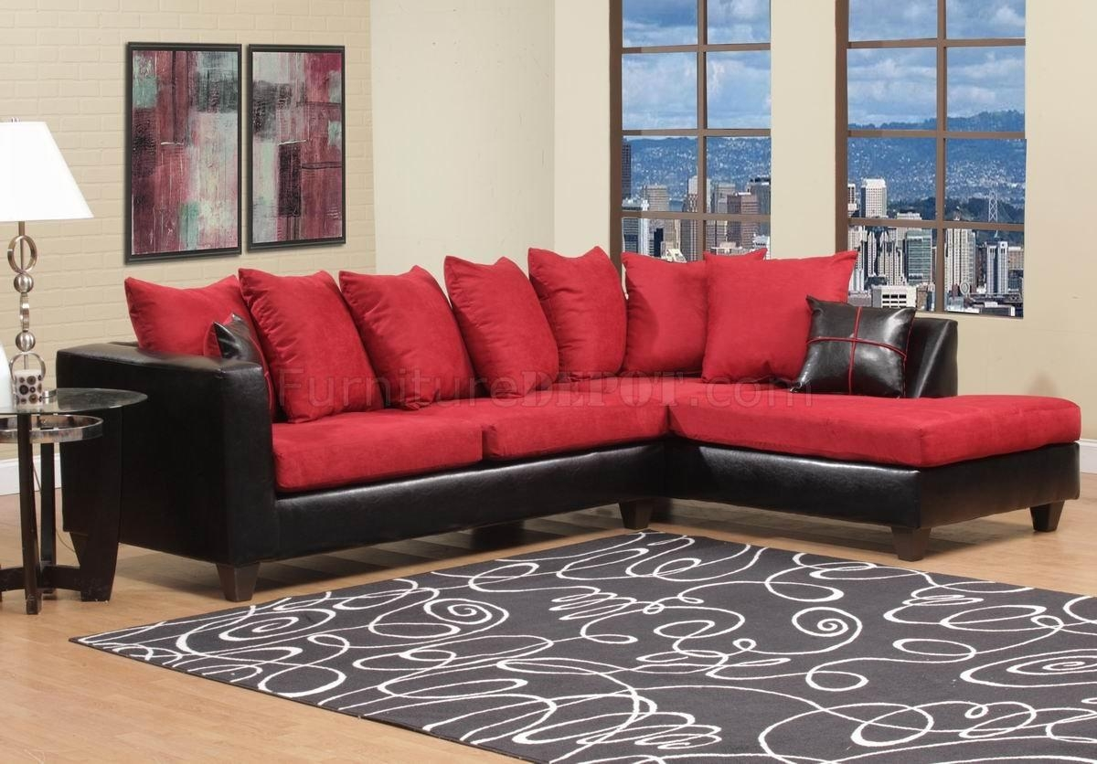 Red Fabric & Black Vinyl Modern Sectional Sofa W/wood Legs Pertaining To Red Black Sectional Sofa (Image 12 of 20)