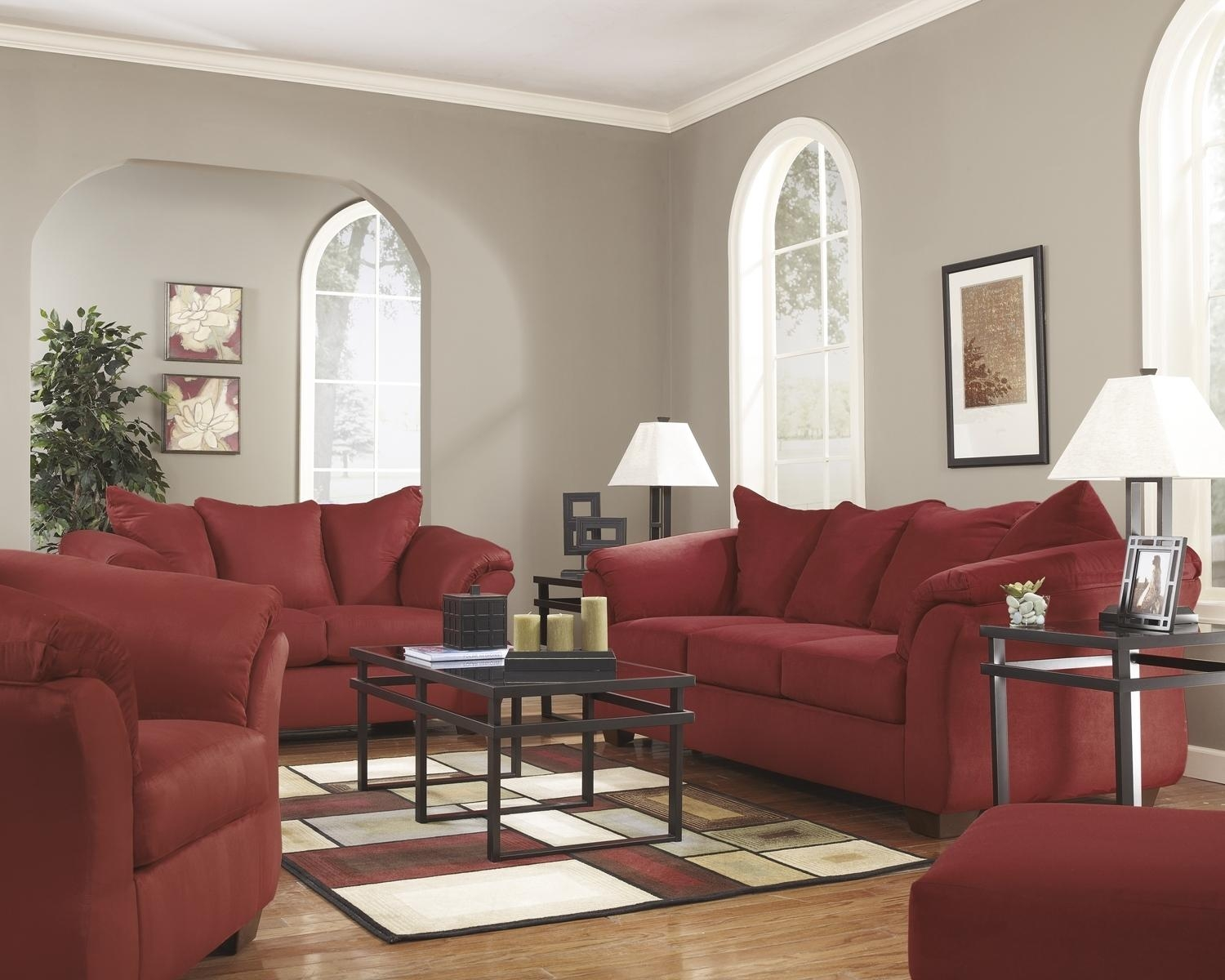 Red Fabric Sofa With Full Sleeperashley Signature Design In Red Sleeper Sofa (Image 13 of 20)