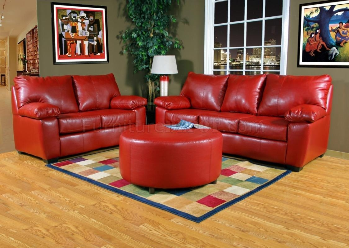 Red Leather Look Fabric Modern Sofa & Loveseat Set W/options Within Red Sofas And Chairs (Image 10 of 20)