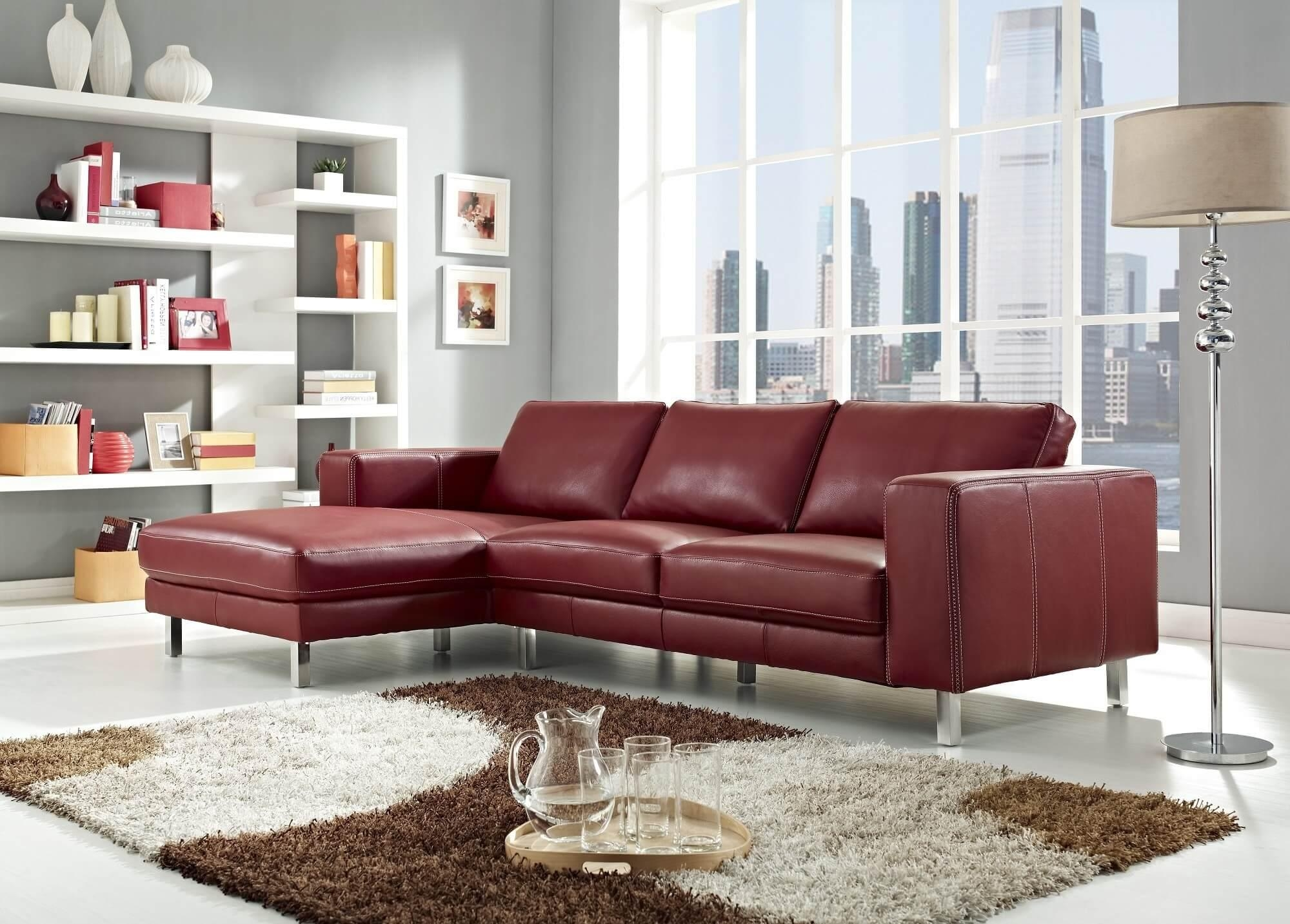 Red Leather Sofa Living Room Ideas – Modern House Regarding Dark Red Leather Couches (Image 15 of 20)