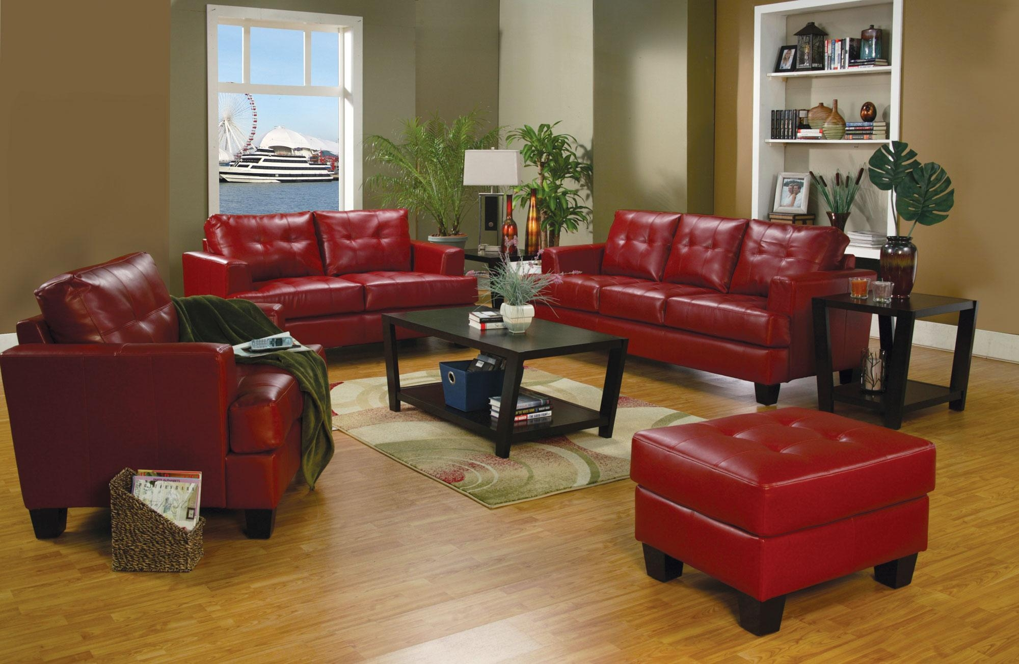 Red Leather Sofa With Ottoman For Small Living Room Spaces With Inside Dark Red Leather Sofas (Image 16 of 20)