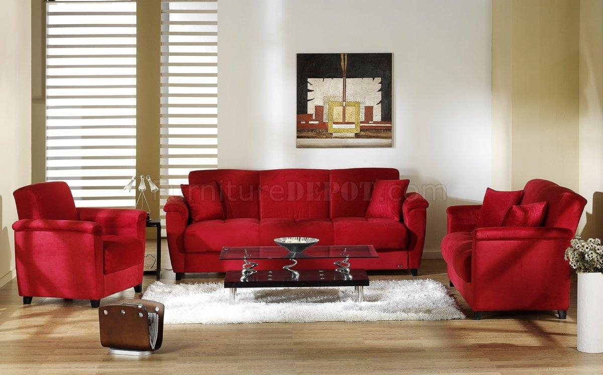 Red Microfiber Fabric Living Room Storage Sleeper Sofa Regarding Red Sleeper Sofa (Image 16 of 20)