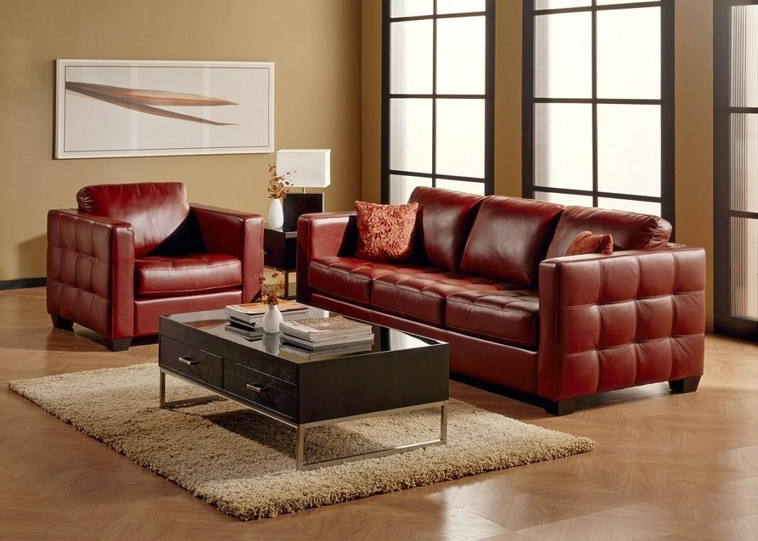 Red Top Grain Leather Sofa Intended For Dark Red Leather Couches (Image 16 of 20)