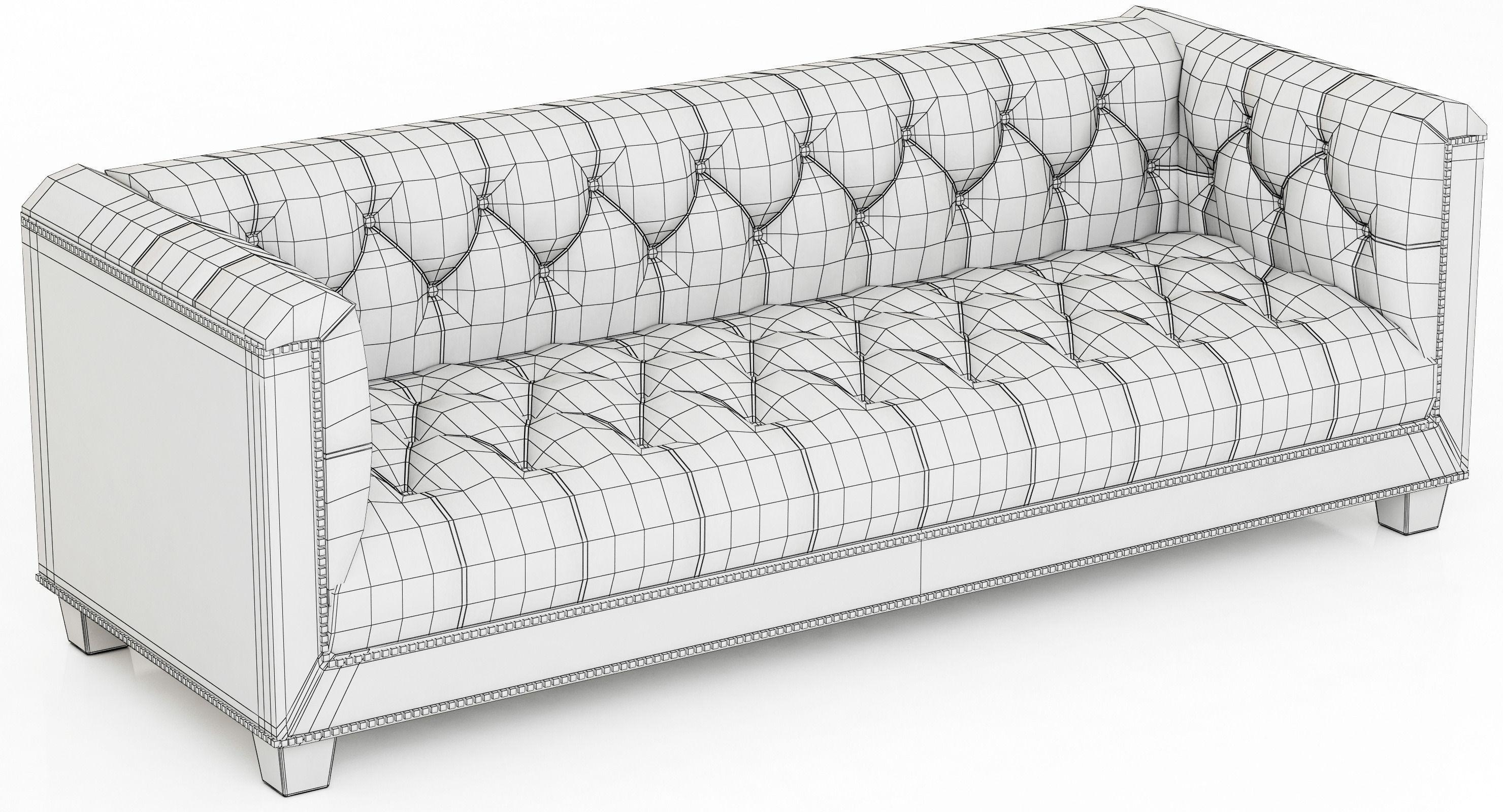 Restoration Hardware Savoy Leather Sofa 3D Model Inside Savoy Leather Sofas (View 9 of 20)