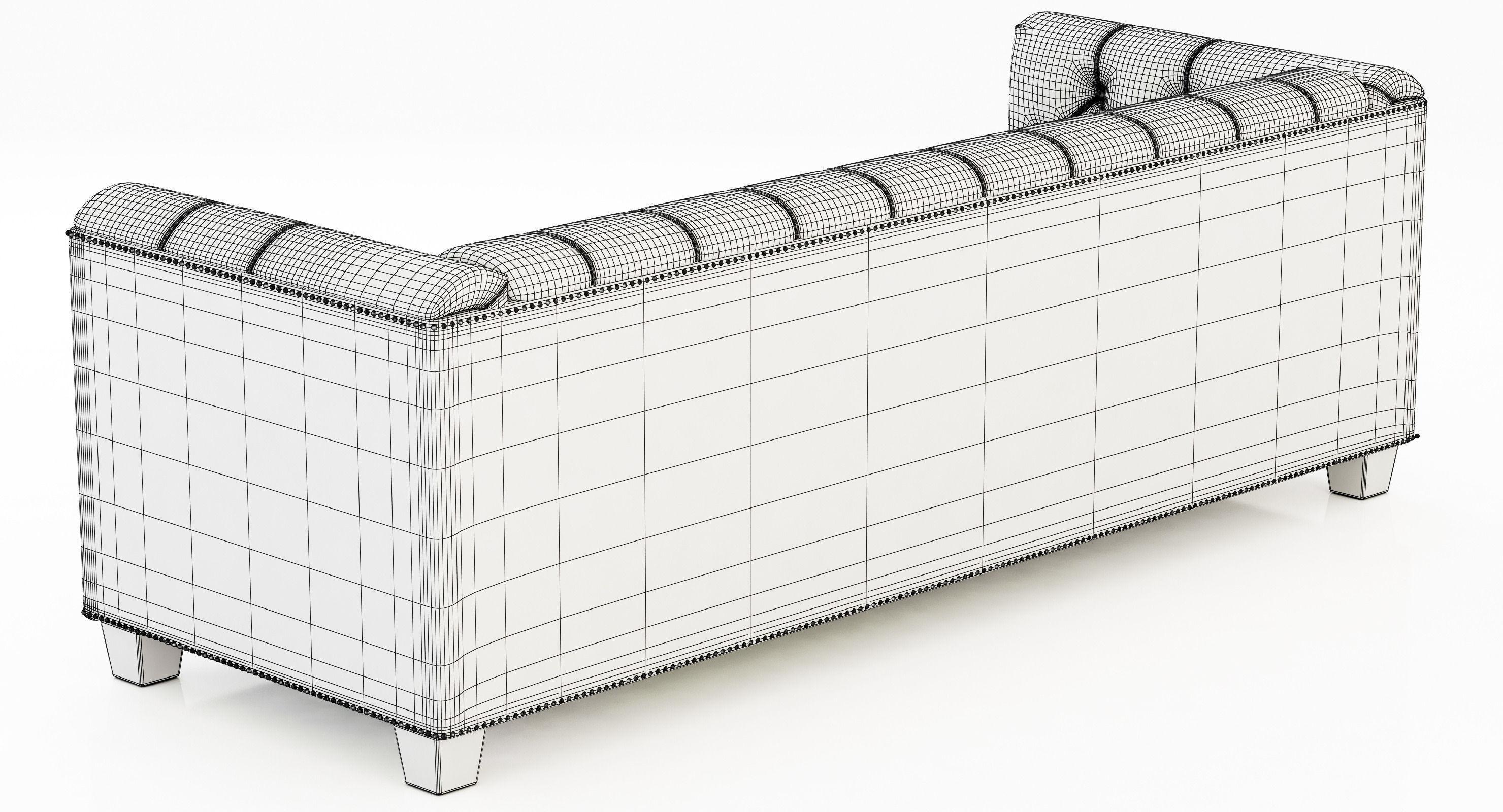 Restoration Hardware Savoy Leather Sofa 3D Model Regarding Savoy Leather Sofas (View 13 of 20)