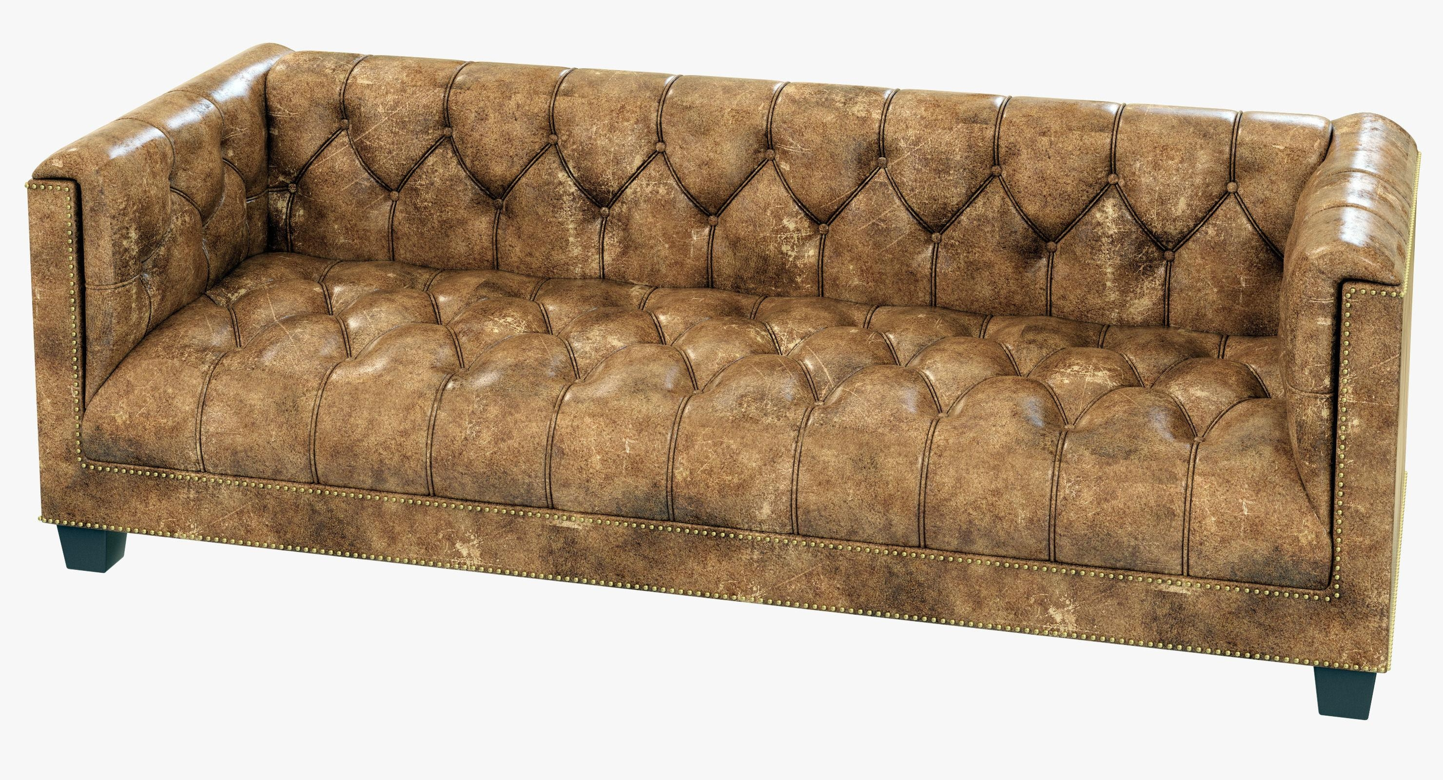 Restoration Hardware Savoy Leather Sofa 3D Model Throughout Savoy Leather Sofas (Image 12 of 20)