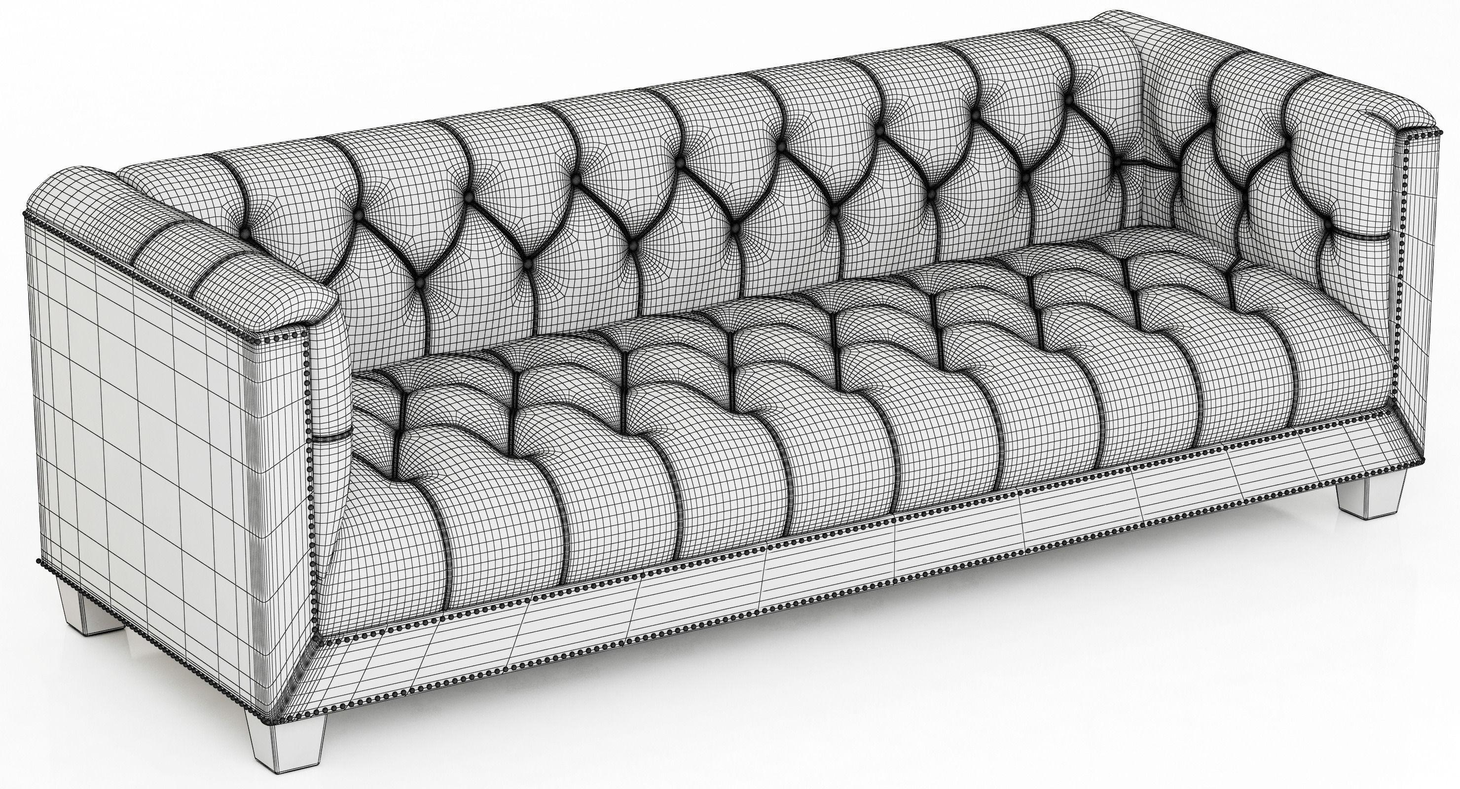 Restoration Hardware Savoy Leather Sofa 3D Model With Savoy Leather Sofas (Image 15 of 20)