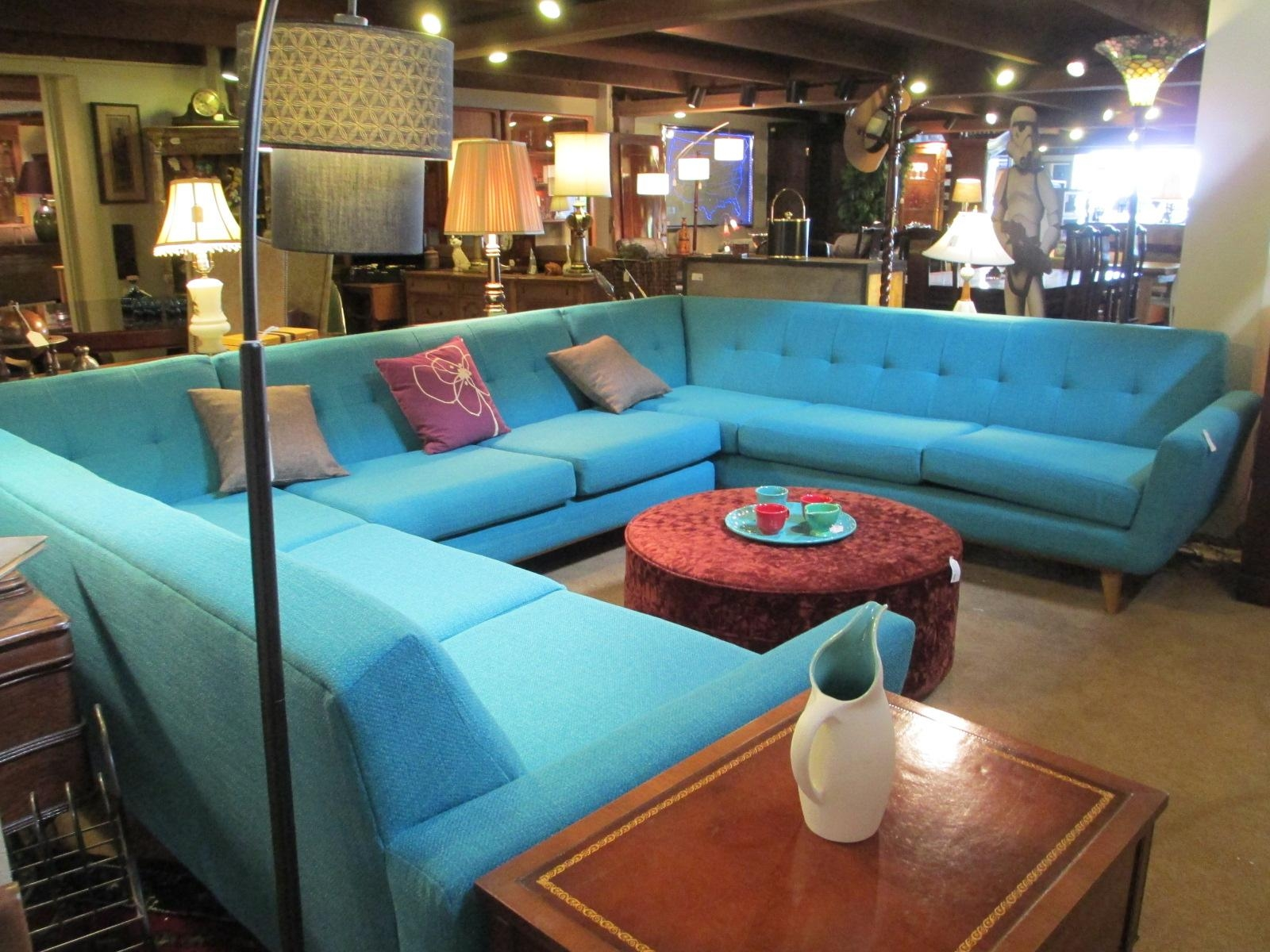 Retro Aqua Conversation Pit Sectional – Sold – Ballard Consignment Intended For Conversation Sectional (Image 7 of 15)