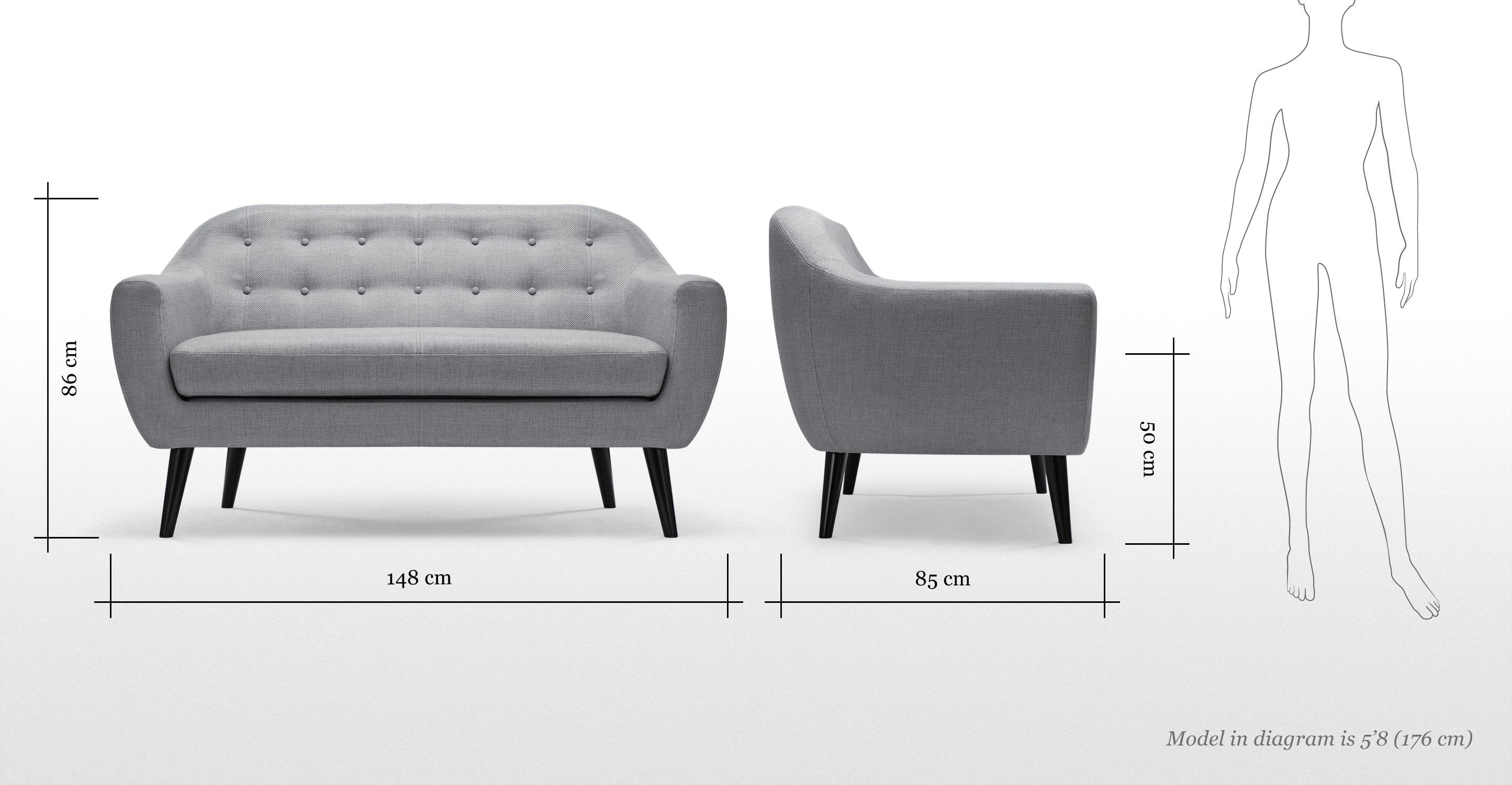 Ritchie 2 Seater Sofa In Pearl Grey | Made For 2 Seater Sofas (View 10 of 20)