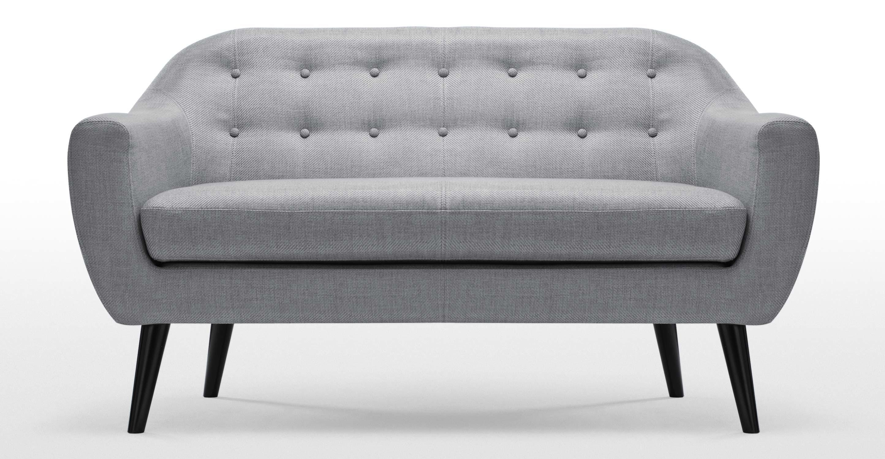 Ritchie 2 Seater Sofa In Pearl Grey | Made With Grey Sofa Chairs (View 10 of 20)
